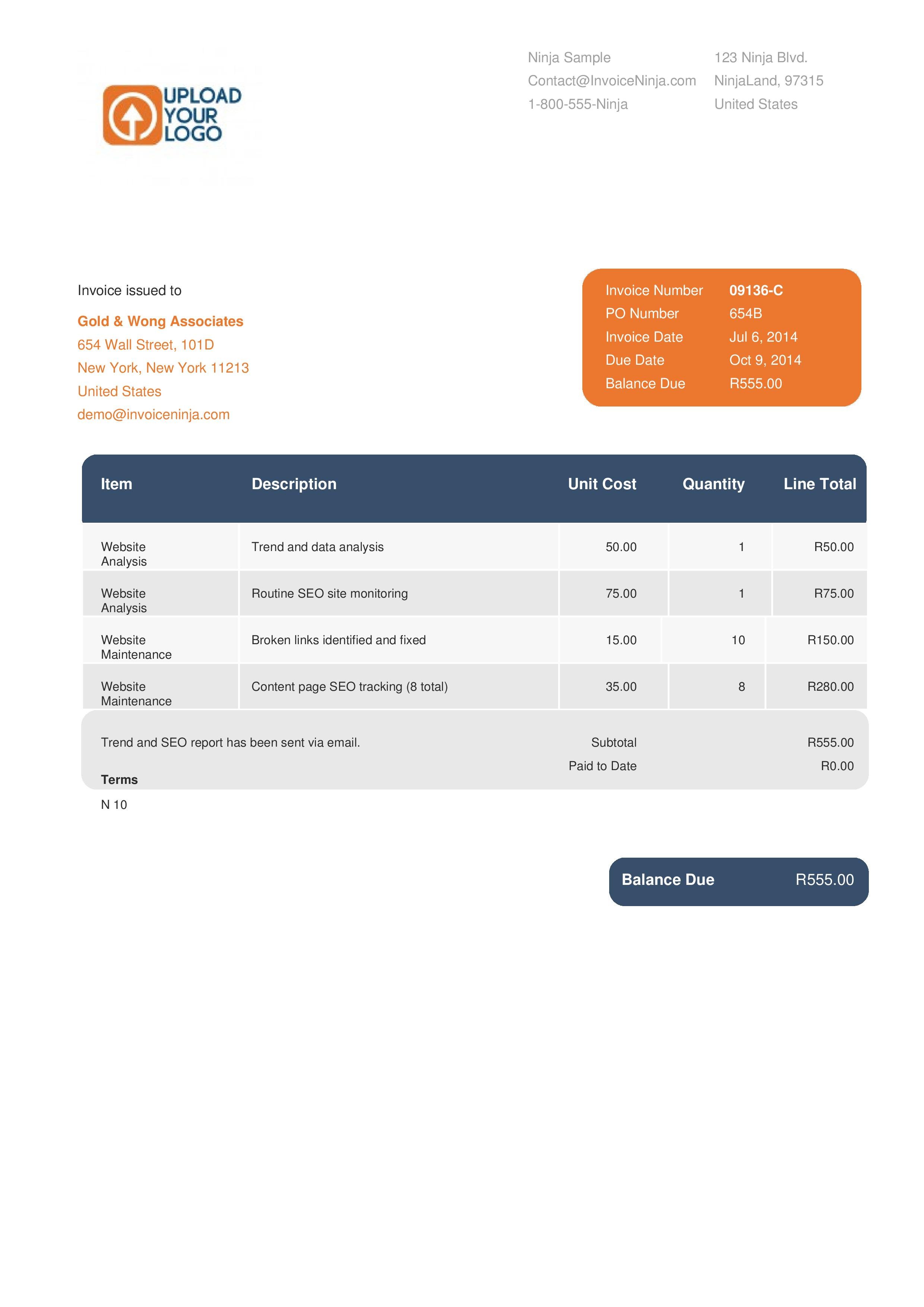 Invoice Quotation Template Designs Invoice Ninja