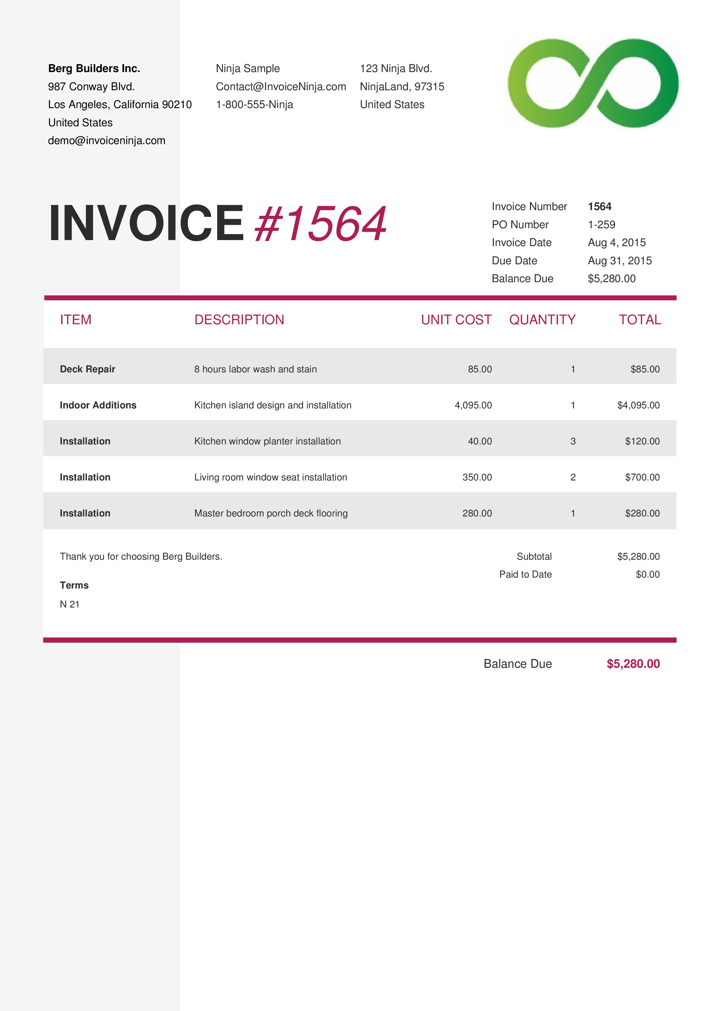 Patriotexpressus  Splendid Invoice Template Designs  Invoiceninja With Heavenly Enlarge With Awesome Building Invoice Template Also Car Price Invoice In Addition Proforma Invoice Samples And Invoice Free Software Download As Well As How To Right An Invoice Additionally Maersk Line Detention Invoice From Invoiceninjacom With Patriotexpressus  Heavenly Invoice Template Designs  Invoiceninja With Awesome Enlarge And Splendid Building Invoice Template Also Car Price Invoice In Addition Proforma Invoice Samples From Invoiceninjacom