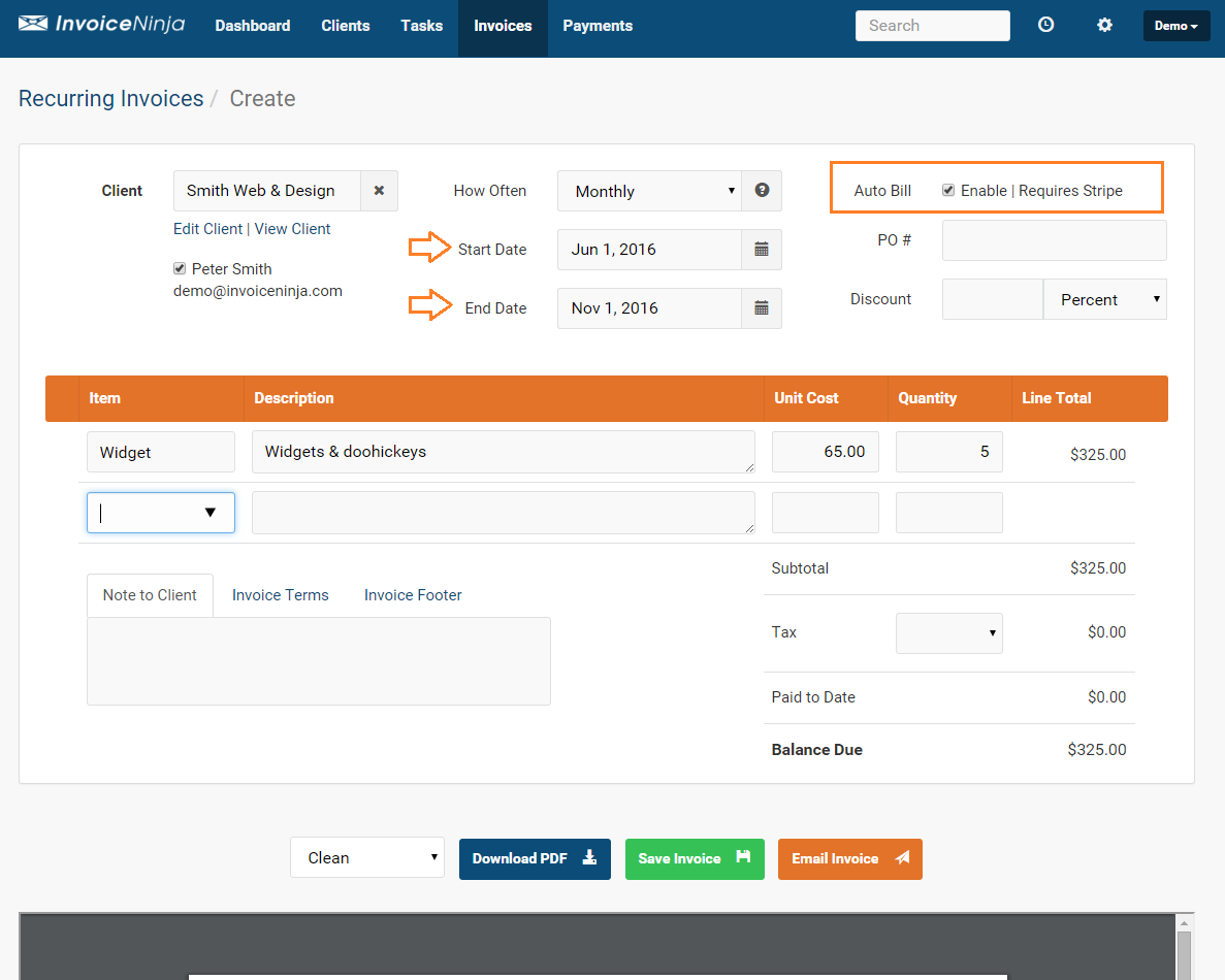 powerful suite of features invoice ninja