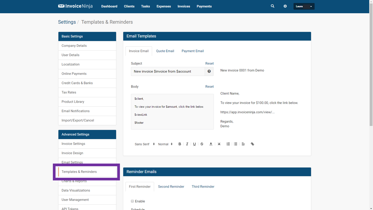 Settings Templates Reminders Invoice Ninja - Invoice reminder email template